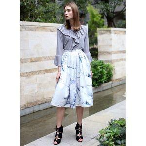 Chicwish Marble Chic Printed Pleated Midi Skirt